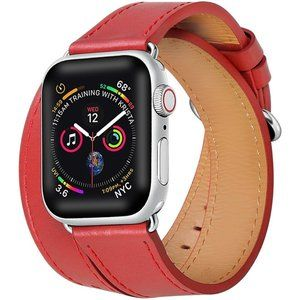 Red Double Wrap Leather Apple Watch Band
